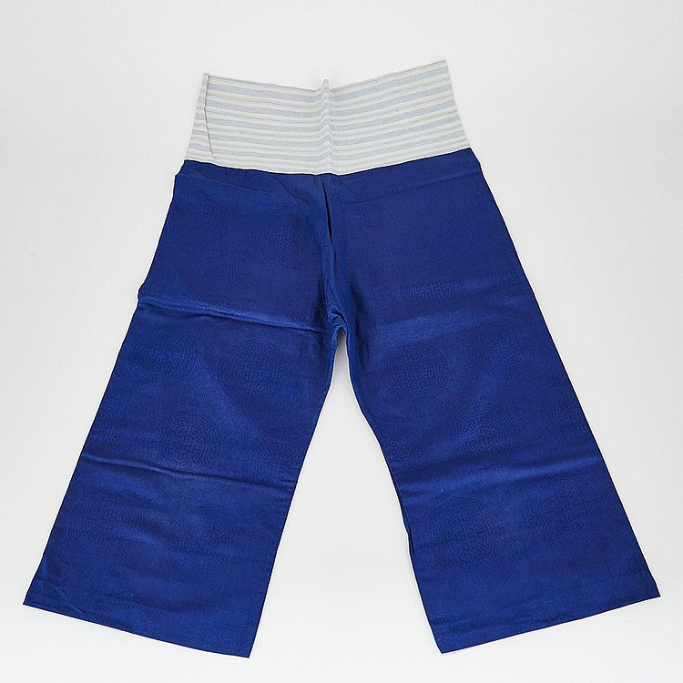 A Pair of Blue Embroidered Pants, 20th Century, 39.8