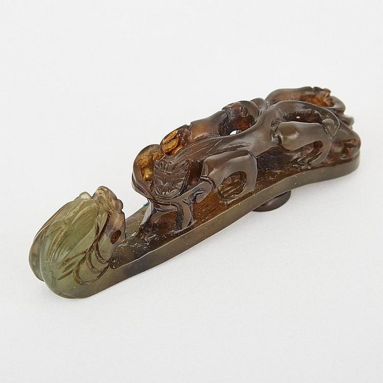 A Jade Belt Hook, 19th/20th Century, height 4.1