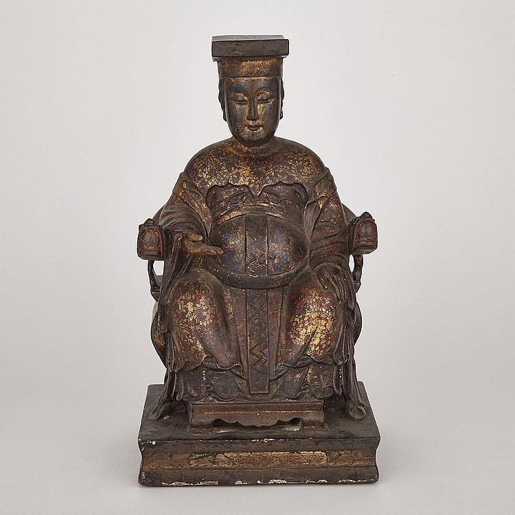A Wooden Gilt and Lacquer Daoist Figure, 19th Century, height 15