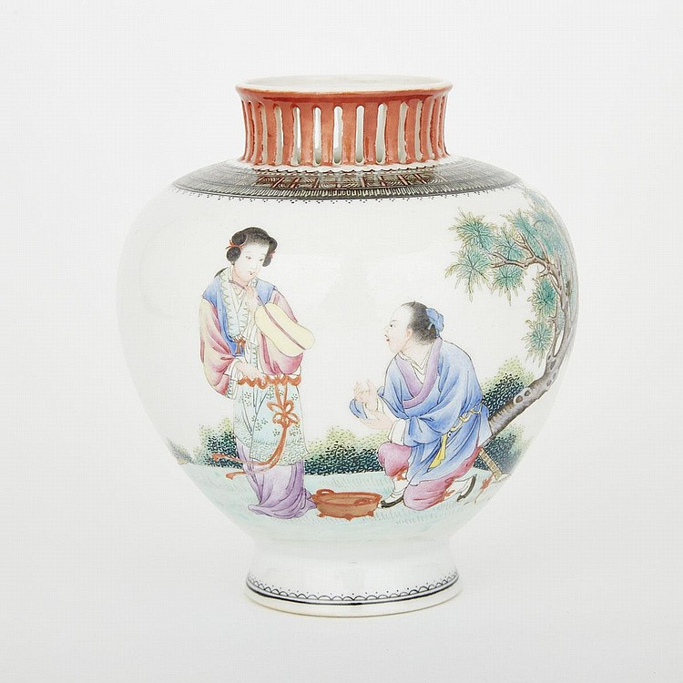 A Famille Rose Figural Jar, Qianlong Mark, 20th Century, height 5.5