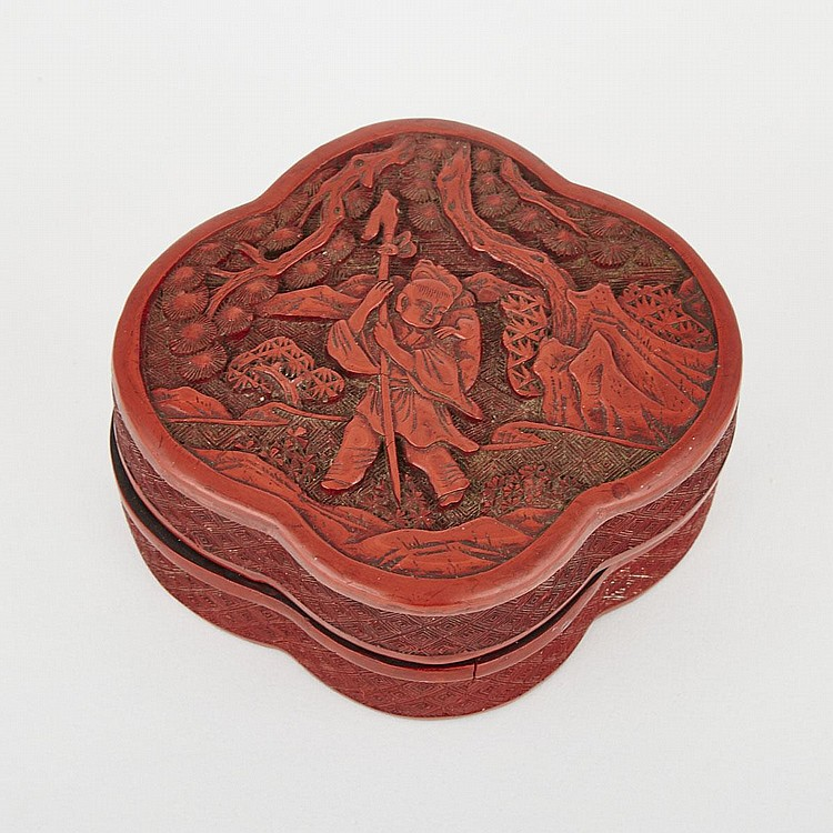 A Chinese Cinnabar Lacquered Box, 19th Century, length 4.7