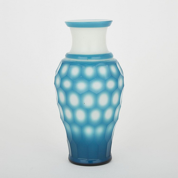 A Tiffany Blue and White Peking Glass Beehive Motif Vase, Guangxu Period, Late 19th Century, height 8.2