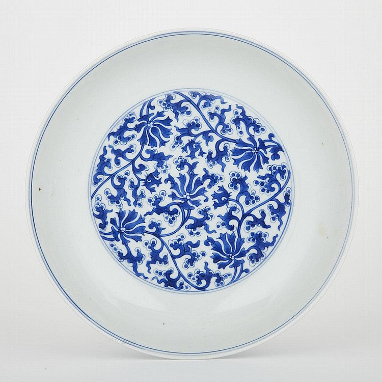 A Rare Blue and White Peony Dish, Kangxi Mark and Possibly of the Period, diameter 8.1