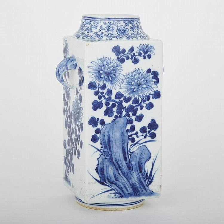 A Blue and White Cong Vase, 19th Century, height 8.5