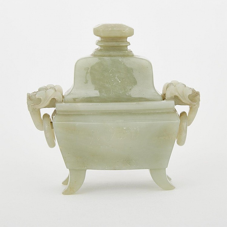 A Celadon Jade Censer, 19th Century, height 3.9
