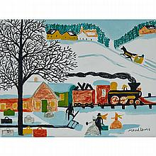 MAUD LEWIS, TRAIN STATION, WINTER, oil and coloured marker on canvas board, 12 ins x 16 ins; 30.5 cms x 40.6 cms
