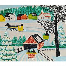 MAUD LEWIS, SNOW COVERED BRIDGE, oil and coloured marker on board, 12 ins x 14 ins; 30.5 cms x 35.6 cms