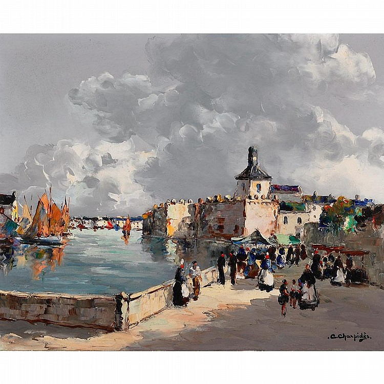 Christophe Charpides (1909-1992), CONCARNEAU (BRETAGNE), Oil on canvas; signed lower right, titled to the stretcher, 15