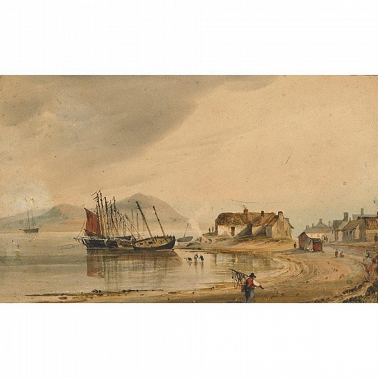 Bartholomew Colles Watkins (1833-1891), FISHING VILLAGE ON THE COAST (PROBABLY CORK), Watercolour; inscribed versoTogether with another by the artist:CORKSTOWN RIVER INNIS LAKE DERWAUGH, WMEATH,Oil on paper; signed, titled and dated Augst 1855 verso,