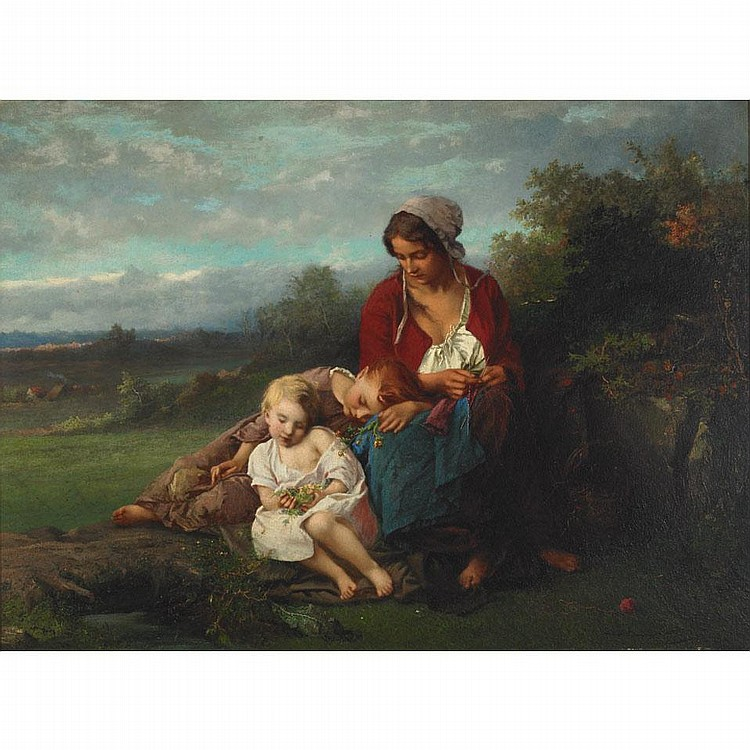 Henry Campotosto (1833-1910), MOTHER AND CHILDREN RESTING IN A FIELD, Oil on panel; signed and dated 1864 lower right, signed verso, 20