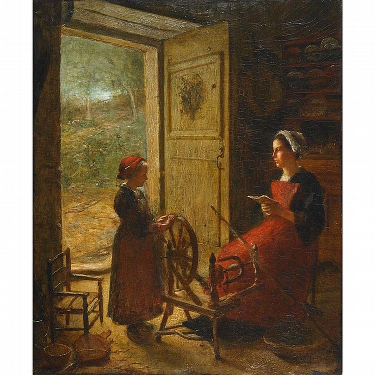 Louis Marie Desire-Lucas (Lucas Desire) (1869-1949), BRETON SPINNER AND YOUNG GIRL IN A COUNTRY KITCHEN, Oil on canvas; signed lower left, 26