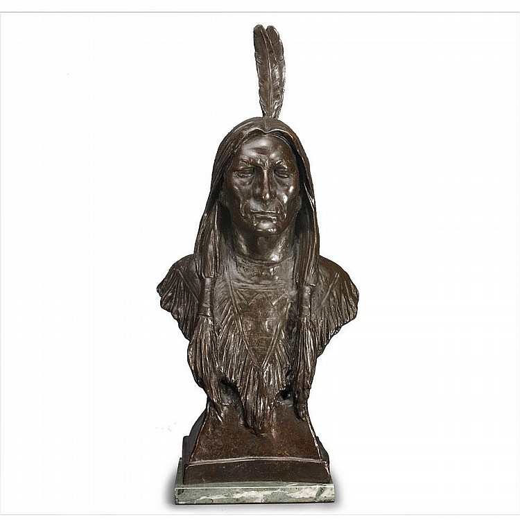 After Max Bachmann (1862-1921), INDIAN HEAD, Dark brown bronze; signed. A later cast after the original bronze. Mounted on a marble base., Height 21.5