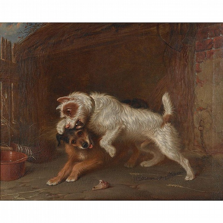 Martin Theodore Ward (1779-1874), TERRIERS CLAIMING A BONE, Oil on canvas; signed lower right, 16.75