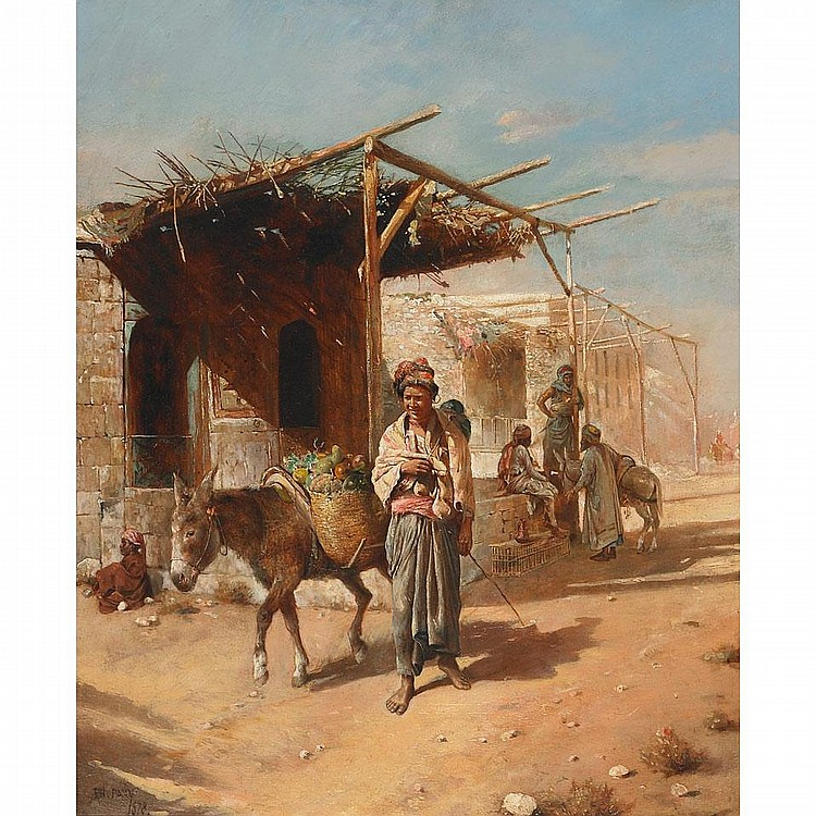 Philippe Pavy (1860- ), COUNTRYMAN OFF TO MARKET, Oil on panel; signed and dated 1878 lower left, 17