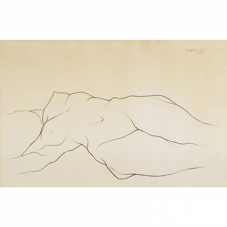 Hector Xavier (1921-1994), RECLINING NUDE, Crayon drawing; signed and dated 1952 upper right, 26.25