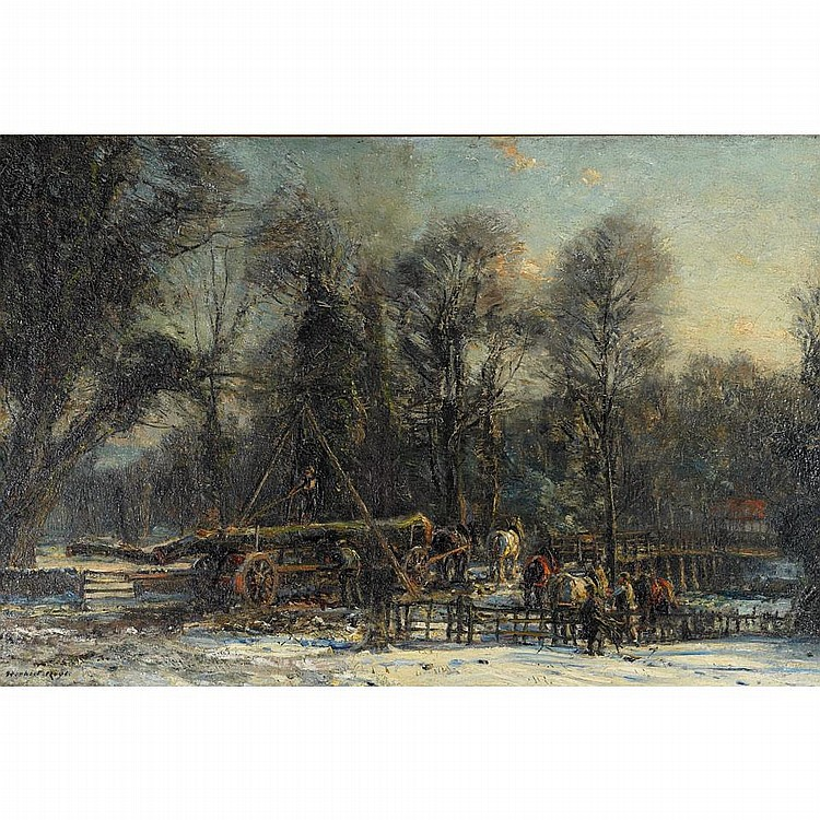 Herbert F. Royle (1870-1958), GATHERING TIMBER ON A WINTER'S DAY, Oil on canvas; signed lower left, 20
