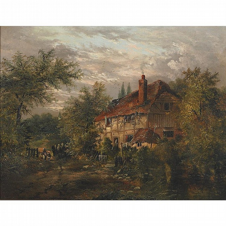 Edgar Longstaffe (1849-1912), TWO VIEWS OF HAMPSHIRE: NEAR SOPHLEY HANTS; COTTAGE SCENE IN BURLEY HANTS, Pair of oils on canvas; each signed with monogram and dated 1878 lower right and lower left respectively, Each 16.5