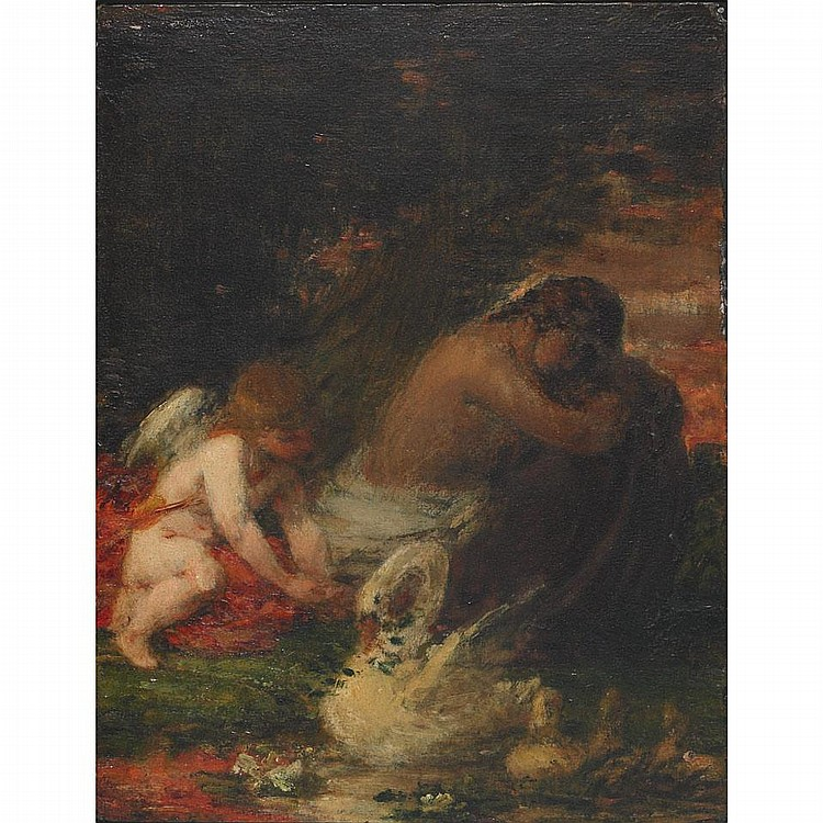 William P. Babcock (1826-1899), REGRETS (A STUDY), Oil on board; signed upper right, signed, titled, dated '87 and inscribed
