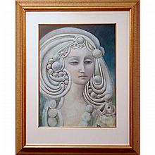 """GARY PETER SLIPPER (CANADIAN, 1934-), UNTITLED (GODDESS), MIXED MEDIA ON PAPER; SIGNED LOWER RIGHT (Sight, 22.5"""" x 16.5"""")"""