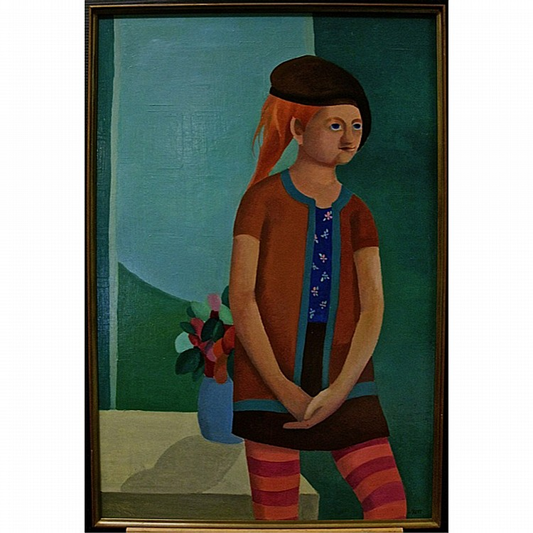 LOUISE SCOTT (CANADIAN, 1936-2007), GIRL WITH STRIPED STOCKINGS, OIL ON MASONITE; SIGNED LOWER RIGHT; SIGNED, DATED 1966 VERSO, 36