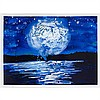 STEVE DRISCOLL, BLUE MOON STUDY #3, urethane on paper, 22 ins x 30 ins; 55.9 cms x 76.2 cms, Steve Driscoll, Click for value