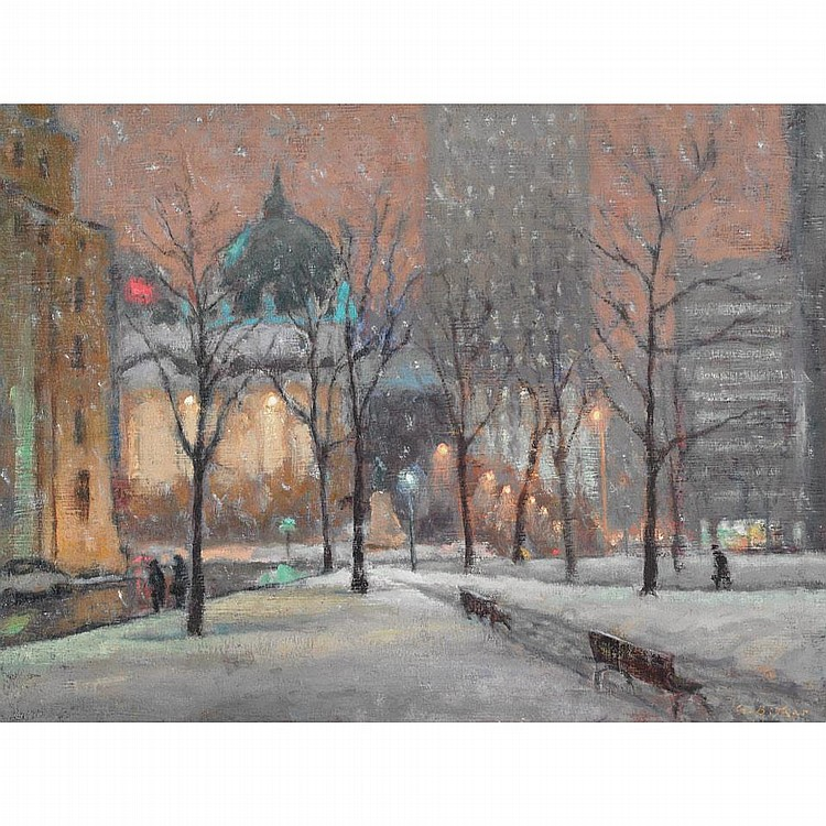 ANTOINE BITTAR, EVENING, DORCHESTER SQUARE, MONTREAL, oil on canvas, 18 ins x 24 ins; 45 cms x 60 cms