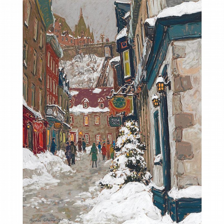 HORACE CHAMPAGNE, A SOFT, QUIET WINTER MOOD, QUARTIER PETIT CHAMPAGNE, OLD QUEBEC CITY, pastel, 16 ins x 20 ins; 40 cms x 50 cms