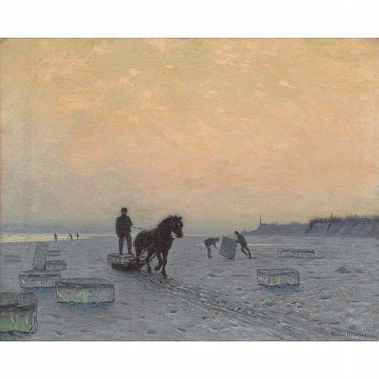 LOVELL BIRGE HARRISON, THE ICE HARVEST, oil on canvas, 24 ins x 30 ins; 61 cms x 76.2 cms