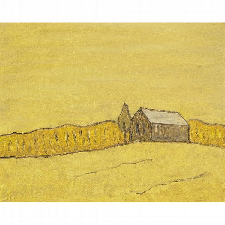 BARKER FAIRLEY, R.C.A., ALL YELLOW, 1977, oil on board, 16 ins x 20 ins; 40 cms x 50 cms