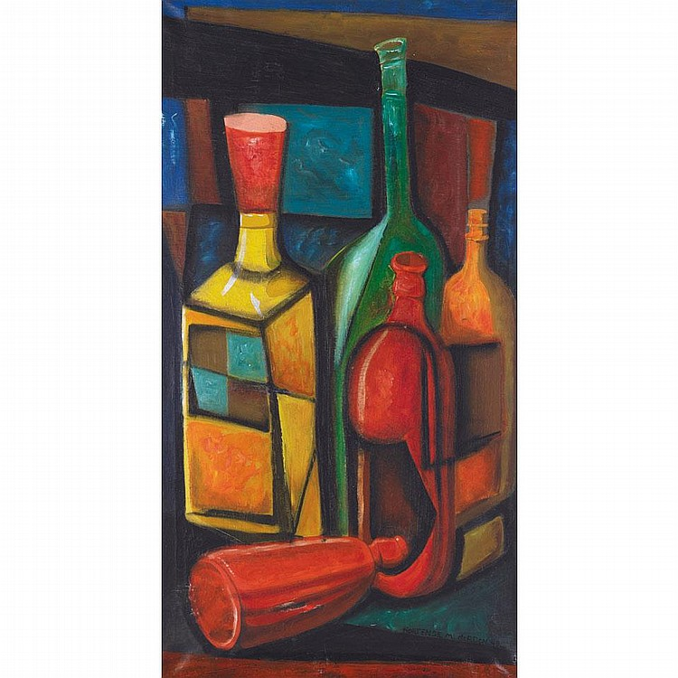 HORTENSE  MATTICE GORDON, R.C.A., CUBIST ABSTRACTION, oil on canvas, 38 ins x 20 3/4 ins; 95 cms x 51.9 cms