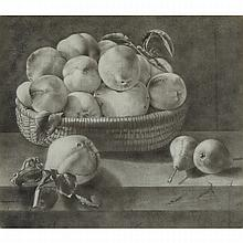 JACK CHAMBERS, FRUIT, graphite drawing, 11 ins x 16 ins; 27.9 cms x 40.6 cms