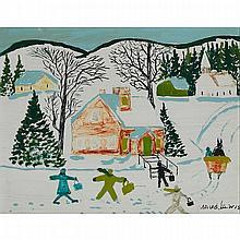 MAUD LEWIS, SCHOOLHOUSE, WINTER, 11 x 14 in — 27.9 x 35.6 cm