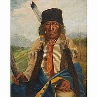 FATHER HENRY METZGER, SIOUX INDIAN, BLACK HILLS (S.D.), oil on canvas, 20 ins x 16 ins; 50 cms x 40 cms