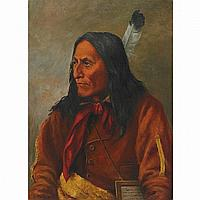 FATHER HENRY METZGER, CHIEF CROWFOOT, BLACKFOOT, oil on canvas, 22 ins x 16 ins; 55 cms x 40 cms