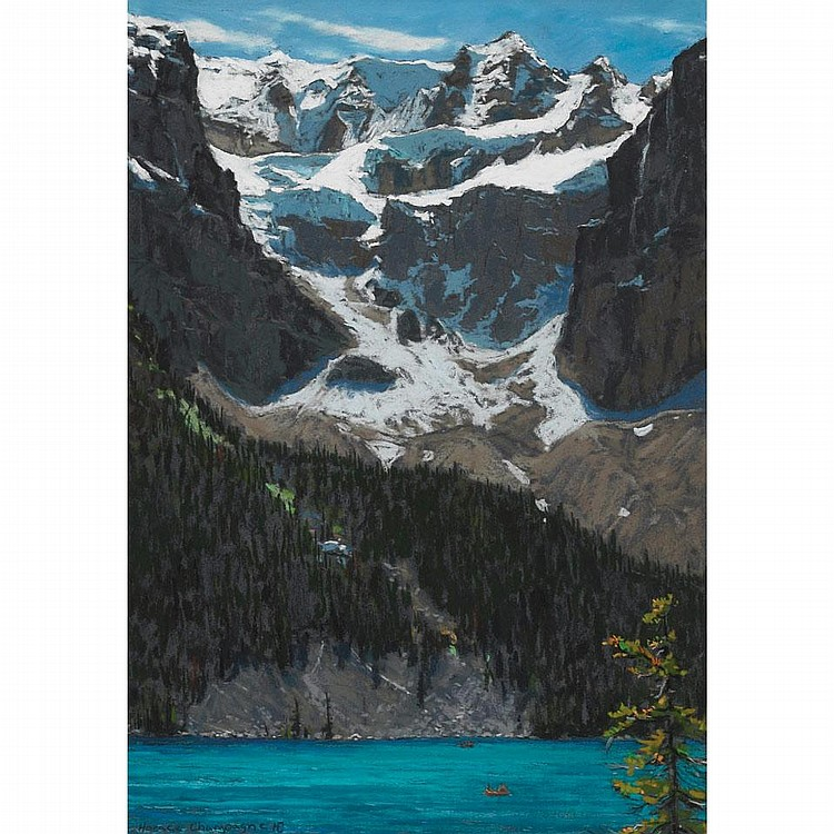 HORACE CHAMPAGNE, BRILLIANT JUNE SUN ON ANCIENT GLACIERS, MORRAINE LAKE, BANFF NAT. PK., ALBERTA, pastel, 25 1/2 ins x 18 ins; 63.8 cms x 45 cms