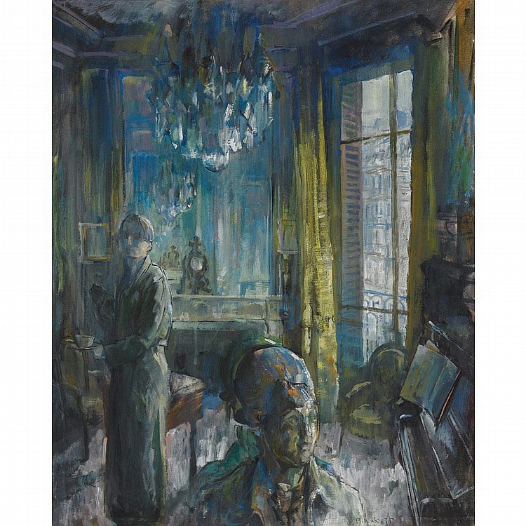 JOSEPH FRANCIS PLASKETT, R.C.A., MORNING REFLECTION, oil on canvas, 39 ins x 32 ins; 97.5 cms x 80 cms