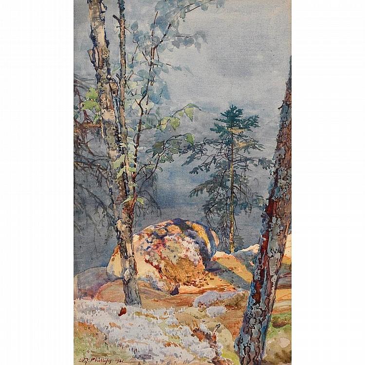WALTER JOSEPH PHILLIPS, R.C.A., SUMMER IDYLL, watercolour, 12 ins x 7 1/4 ins; 30 cms x 18.1 cms