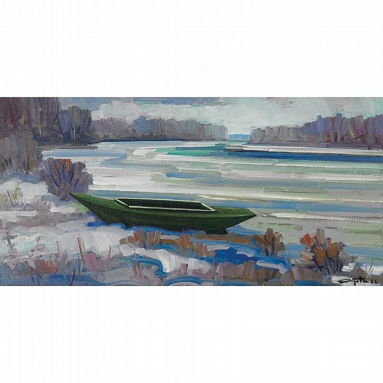 LEO AYOTTE, BARQUE PRES DE SOUL, oil on canvas, 18 ins x 36 ins; 45 cms x 90 cms