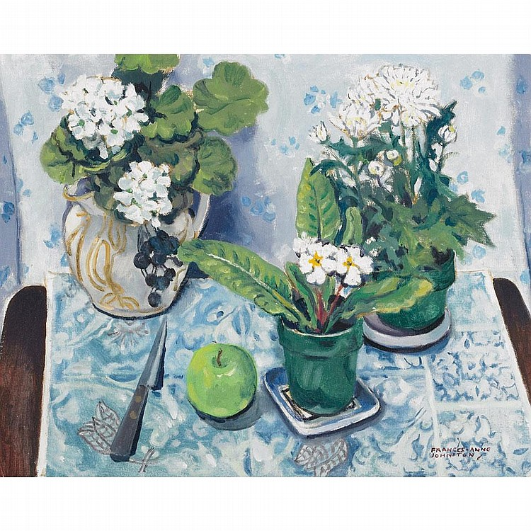 FRANCES ANNE JOHNSTON, O.S.A., R.C.A., WHITE FLOWERS WITH APPLE, oil on canvas board, 16 ins x 20 ins; 40 cms x 50 cms