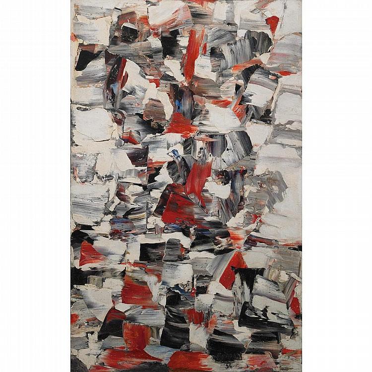 MARCELLE FERRON, R.C.A., SANS TITRE, oil on canvas, 45 1/2 ins x 28 3/4 ins; 115.6 cms x 71.9 cms