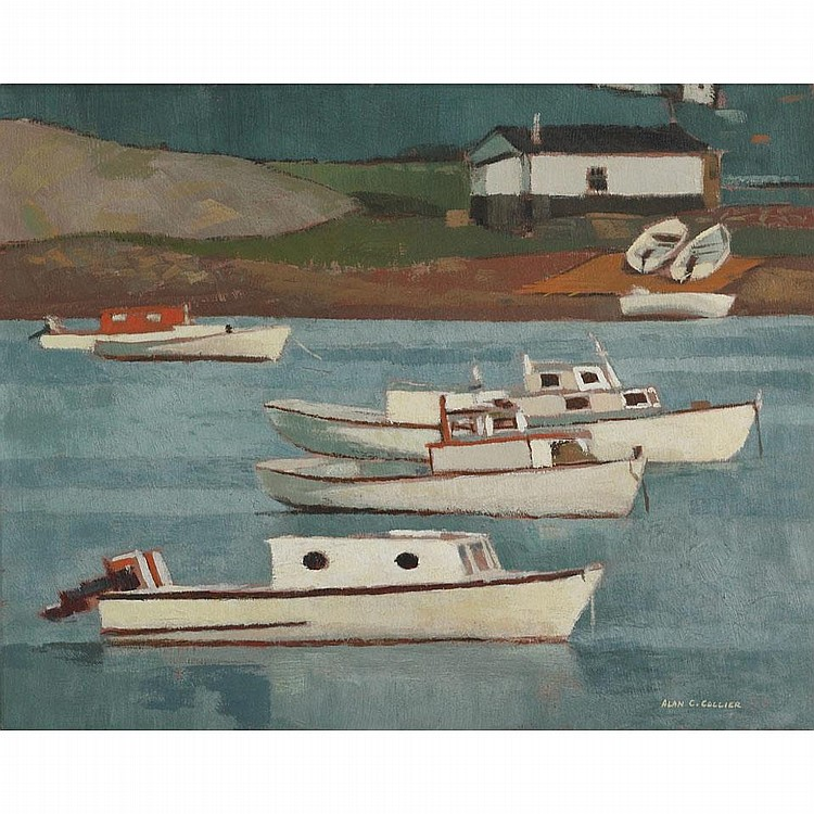 ALAN CASWELL COLLIER, O.S.A., R.C.A., QUIET COVE, GLOVERTOWN, NFLD, oil on board, 16 ins x 20 ins; 40 cms x 50 cms