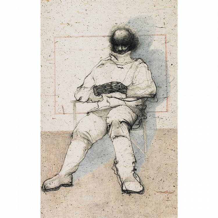 JOHN HOWARD GOULD, O.S.A., R.C.A., SEATED ACTOR, chalk and pastel, 38 ins x 24 ins; 95 cms x 60 cms