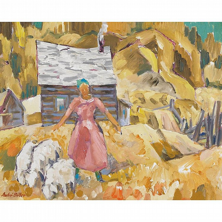 ANDRE CHARLES BIELER, O.S.A., R.C.A., LA FILLE AUX MOUTONS, 1970, acrylic and oil on canvas board, 16 ins x 20 ins; 40 cms x 50 cms
