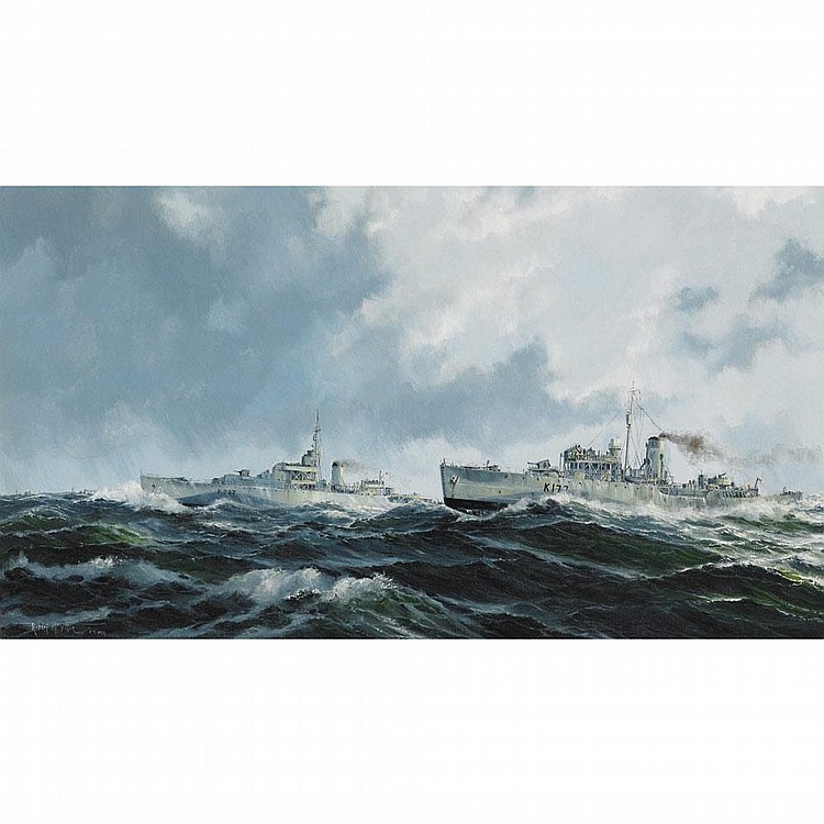 ROBERT MCVITTIE, FIGHTING SHIPS, oil on canvas, 20 ins x 36 ins; 50 cms x 90 cms