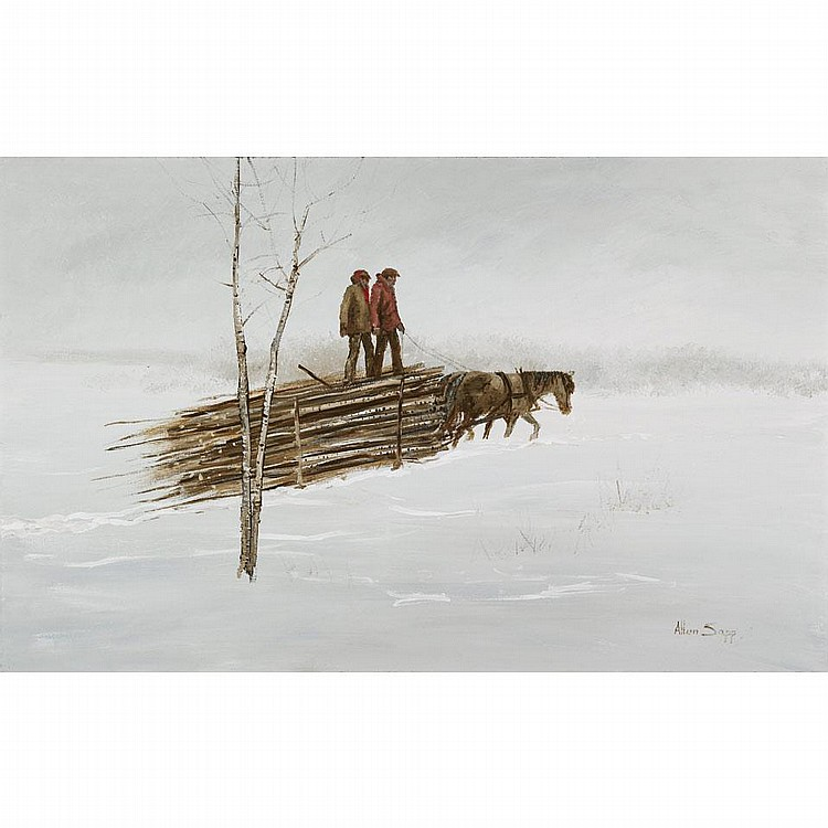 ALLEN SAPP, R.C.A., GOING TO SELL THE WOOD, 1972, acrylic on canvas, 30 ins x 48 ins; 75 cms x 120 cms