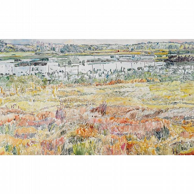 DOROTHY KNOWLES, R.C.A., NEAR PRINCE ALBERT, acrylic on canvas, 37 ins x 62 ins; 92.5 cms x 157.5 cms