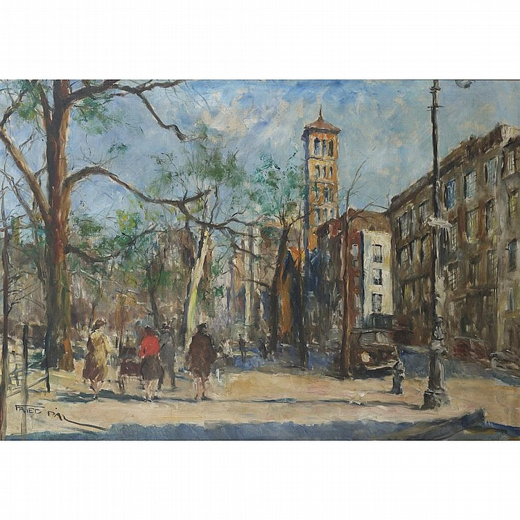 Pal Fried (1893-1976), Hungarian/AmericanWASHINGTON SQUARE; Oil on canvas; signed lower left, titled to the frame verso32