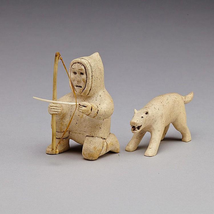 ELISAPEE KANANGNAQ AHLOOLOO (1918-), HUNTER AND DOG, bone, antler, sinew, 2.25