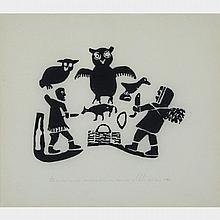 "SARAH JOE QINUAJUA (1917-1986), MAKING A RABBIT SNARE; A FAMILY RUNNING FROM A POLAR BEAR, stonecut (framed), 11.25"" x 12.75"" - 28.6 x 32.4 cm.; 11.25"" x 12.75"" - 28.6 x 32.4 cm. (2 Pieces)"