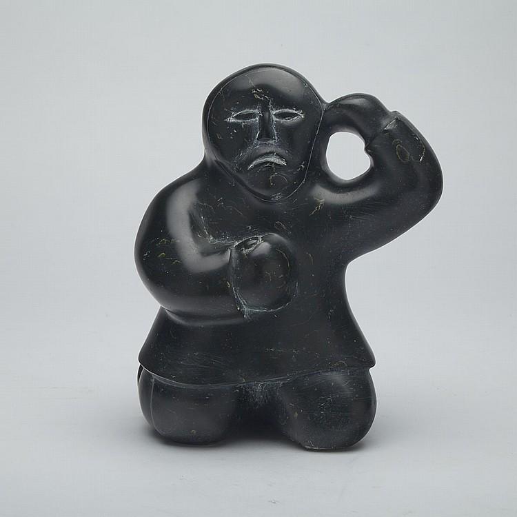 ENUKEE AKULUKJUK (1943-), THOUGHTFUL MAN, stone, 8.5